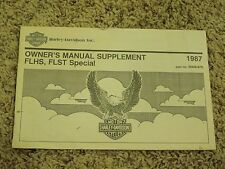 Vintage 1987 Harley-Davidson Motorcycle Papers Owner's Manual Supplement FLHS