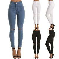 Women's Hole Ripped Skinny Jeans Trousers Ladies Slim High Waist Elastic Pants
