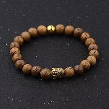 "8mm Beaded Charm Yoga Stretchable Bracelets 7"" Men Women Natural Wooden Buddha"
