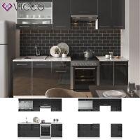 Küche FAME-LINE Küchenzeile Einbauküche Block 240cm Anthrazit Hochglanz Vicco