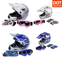 DOT Full Face Adult/Youth Dirt Bike Motocross Helmet Goggles Gloves S M L XL New