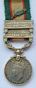 Miniature - Silver GVI India General Service Medal Clasps NW Frontier 1936-37-39
