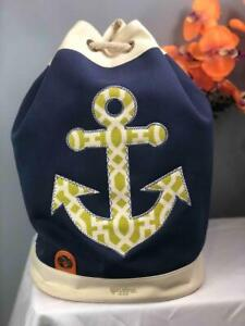 "SPARTINA 449 ""Heyward"" Anchor Nautical Canvas Drawstring Beach Bag"