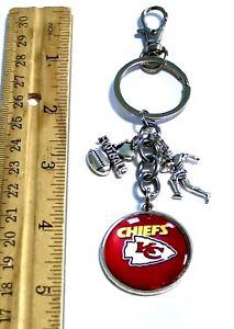 Kansas City Chiefs Inspired Purse Charm Key Ring Book Bag Glass Cabochon 30mm