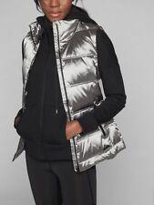 Athleta Vest Jacket Medium Matte Silver Down Insulated Twill Nylon Quillted $168