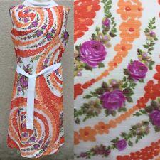True Vintage Elizabeth Tees Naranja Estampado Floral Vestido De Té 12 14 Boda bastante