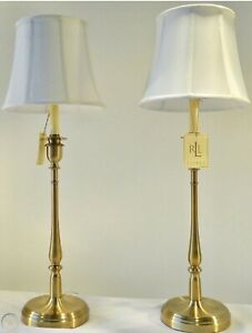 2 Ralph Lauren Darien Candlestick Table Lamps Brass Gold NWT