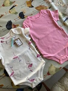 Baby Girls Joules Vests X2 Pink Flamingo BNWT 18-24 Months Original Packaging
