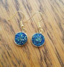 Drop Dangle Gold plated Pierced Earrings Teal Blue Druzy insert, Boho, Steampunk