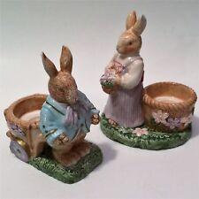 Avon Easter Springtime Collection Mr & Mrs Rabbit Tealight/Egg Holder Set - Nib