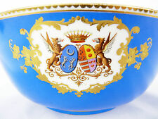 Large coupe en porcelaine de sèvres XIX ème siecle Blasons Armoiries royalty