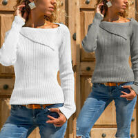 Tops Women Ribbed Pullover Plus Size Knitted Long Sleeve Jumper Sweater