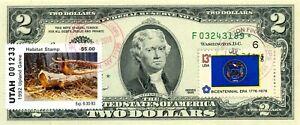 $2 DOLLARS STAR 1995 STAMP CANCEL U S HUNTING PERMIT STAMPS DUCKS VALUE $555