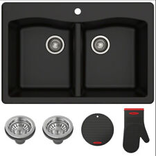 Kraus Forteza 33 Inch Dual Mount 50/50 Double Bowl Granite Kitchen Sink, Black