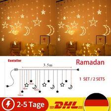 2x Ramadan Eid LED Mond Stern Lampe Lichterkette Dekoration Hochzeit Weihnachten