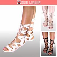 Womens Ladies Lace Up Gladiator Long Sandals Size 3-8 UK