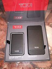 NWT TUMI Black Leather Folio Case Samsung Galaxy S6 & Portable Battery Bank Set