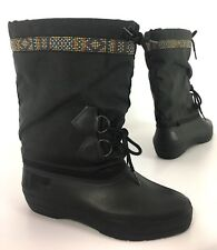 Baffin Womens Insulated Snow Winter Boots Mid-Calf Black Ribbon Trim Size 7