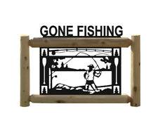FISHING SIGNS - RUSTIC CEDAR LOG CABIN DECOR - LURES - TACKLE