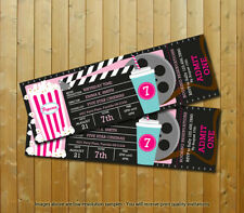 Movie Party Custom Movie Ticket Girls Printed Birthday Invitations 10 wEnvelopes