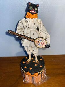 Bethany Lowe Allen Cunningham Halloween Black Cat Playing Banjo Box~New Unused