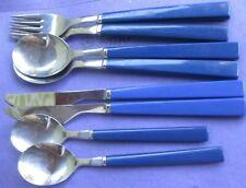 8 Piece Anacapa Blue Handle Melamine Stainless Steel Flatware