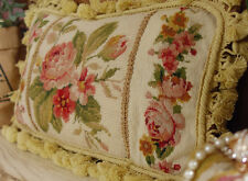 "18"" Beautiful Sofa Chair Handmade Decorative Roses Floral Needlepoint Pillow"