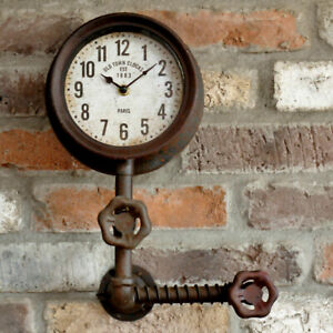 Metal Pipe Clock Industrial Rustic Warehouse Factory Station Steampunk Wall Art