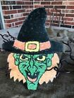 """Vintage Repro Witch with Green Face Halloween Cardstock Decoration, 8"""" OR 10"""""""