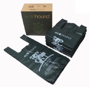 EcoHound Dog Poo Bags Dark Green Tie Handles Biodegradable 17 microns thick