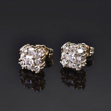 HUCHE 18K Yellow Gold Filled Stud Retro Clear Sapphire Diamond Women Earrings