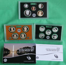 2014 S United States Mint Annual SILVER 14 Coin Proof Set Original Box and COA