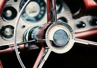 Classic Car Handwheel Poster Size A4 / A3 Vintage Vehicle Poster Gift #12390