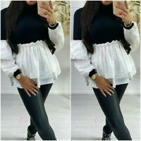 Ladies Women's Fine Ribbed Frill Ruffle Puff Sleeve Knit Jumper Shirt Blouse Top