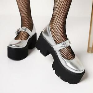 Women Gothic Chunky Heels Platform Shoe Ankle Buckle Punk Round Toe Casual Pumps