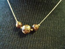 "VINTAGE 16"" GOLD PLATED CHAIN W. 3 ROUND BALL PENDANTS-FLORAL LEAF ETCHING-EUC"
