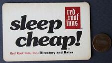 1970s Era Red Roof Inns Roadside Hotel-Motel directory tri-fold business card!