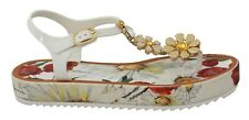DOLCE & GABBANA Sandals Shoes Crystal Rubber Floral Flip Flops EU39 / US8.5