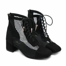 Women Hollow Out Lace Up Block Mid Heel Sandals Ankle Boots Zip Casual Booties