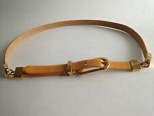 VTG ELLEN TRACY Belt Med. Italian Leather Golden Yellow Goldtone Hinged Accents