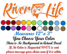 River Life Decal with Trout in the Center Sticker Fishing Fisherman Spotted Fish