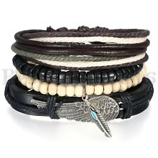 4PCS Braided Feather Angel Wing Leather Wristband Cuff with Wood Bead Bracelet