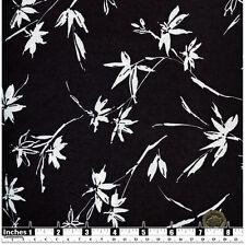 Quilting Fabric White Flowers and Stems Black BG 100% Cotton Fat Quarter