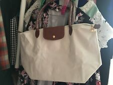 authentic longchamp le pliage white long handle bag brand-new