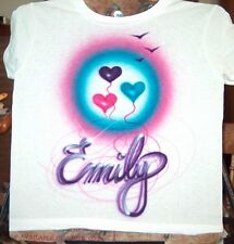 Airbrushed T-shirt BALLOON NAME 2T 3T 4T 5 6 8 10 12 14