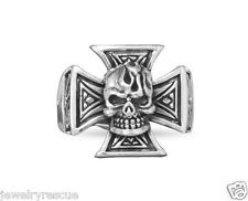 Maltese Cross Skull Flame .925 Sterling Silver Ring Size 12 Biker Harley NEW 11g