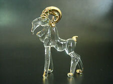 Curio Glass GOAT RAM Glass Animal Glass Ornament Clear Glass Curved Golden Horns