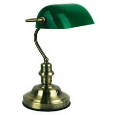 BANKERS ANTIQUE BRASS TABLE LAMP GREEN GLASS SHADE - WILL SHIP AUSTRALIA WIDE