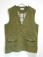 Double Two Lady thick green brushed cotton waistcoat 18 VGC country casual