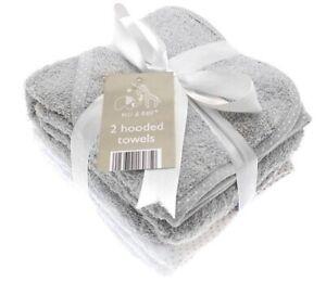 2 Soft Grey White Elli & Raff Baby Hooded Bath Towels Newborn Boy Girl Wrap